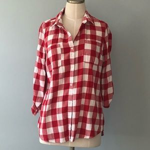 Red and White Checkered Long Sleeve Button Up Sz M